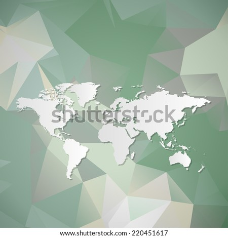 Polygonal World Map background - stock photo