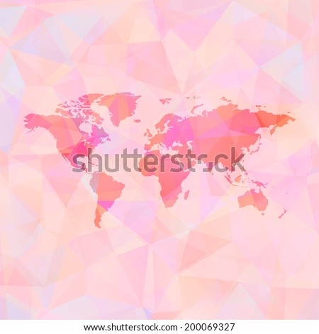 Polygonal World Map background. Raster version. - stock photo
