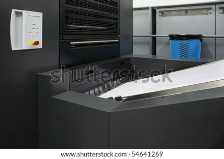 Polygraphic process in a modern printing house - stock photo