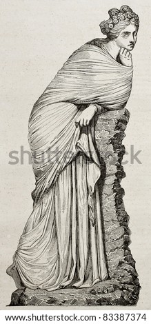 Polyhymnia marble statue old illustration. By unidentified author, published on Magasin Pittoresque, Paris, 1840 - stock photo