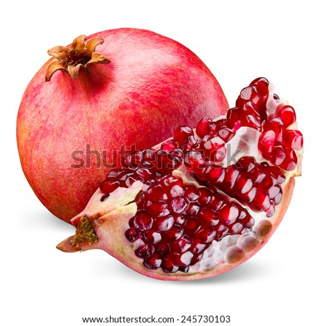 Pomegranate and its piece isolated on a white background. - stock photo