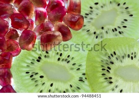 Pomegranate and kiwi - stock photo