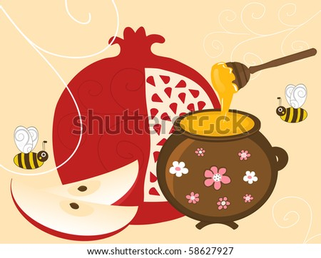 Pomegranate, Apple and Honey in Pot - stock photo