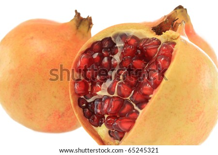 pomegranate apple with seed with white background - stock photo
