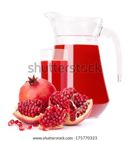 Pomegranate fruit juice in glass pitcher isolated on white background cutout - stock photo
