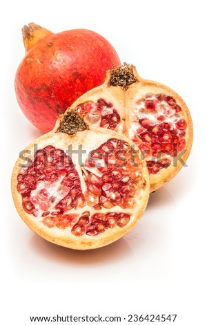 Pomegranate fruit , Punica granatum isolated on a white studio background. - stock photo