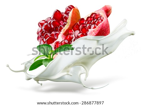 Pomegranate is falling into milk. Splash isolated on white background - stock photo