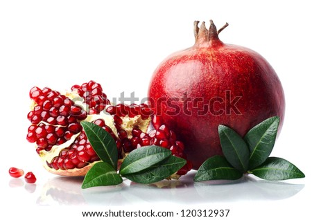 pomegranate isolated on the white background - stock photo