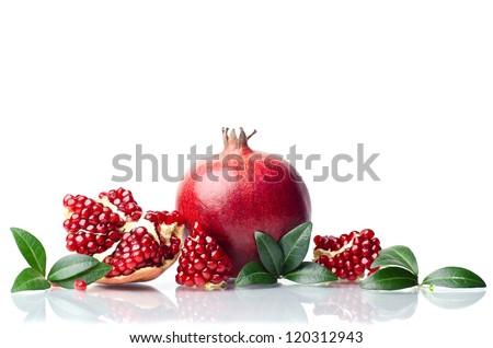pomegranate isolated on the white background - stock photo