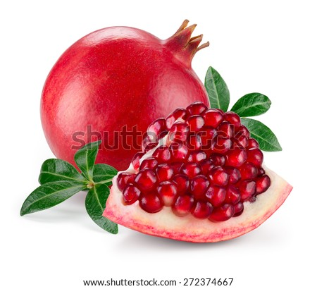 Pomegranate isolated on white background - stock photo