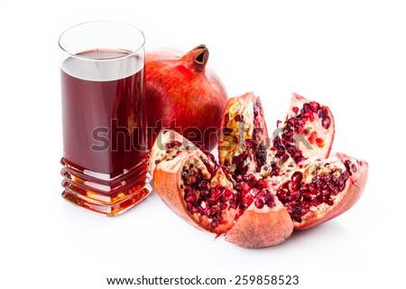 Pomegranate isolated on white background. Pomegranate juice - stock photo