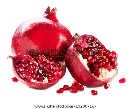 Pomegranate. Pomegranates isolated on a White Background. Organic Bio fruits - stock photo