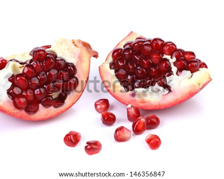 Pomegranate slices isolated on a white backgrount - stock photo