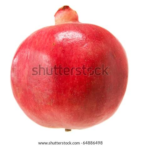 pomegranate; whole fuit; isolated on white background; - stock photo