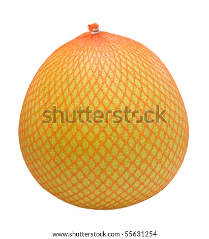 Pomelo fruit wrapped in a plastic - stock photo
