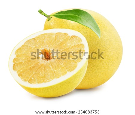 Pomelo or Chinese grapefruit isolated on the white background - stock photo