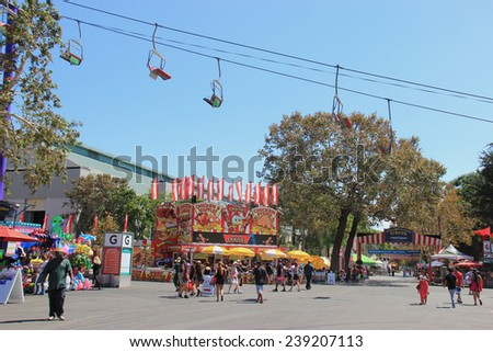 Pomona, California, USA - September 15, 2014: LA County Fair is one of the fourth largest fair in USA. It provides a place where people learn about California's heritage and enjoy traditional food. - stock photo