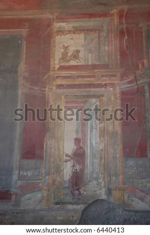 pompei fresco - stock photo