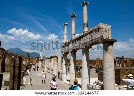 POMPEII, ITALY, MAY 10, 2012 - Ruins of ancient Roman City near Naples in Italy - stock photo
