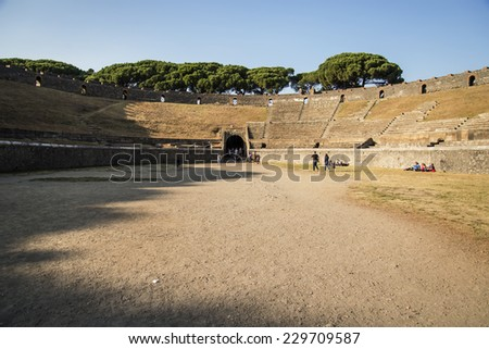 POMPEII - NOVEMBER 2: Roman anphitheater ruins of the lost city of  Pompeii on November 2, 2014 in Pompeii,  Italy - stock photo
