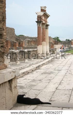 Pompeii street. Naples (Italy) - stock photo