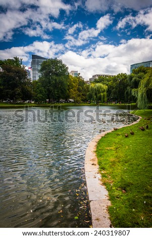 Pond at the Public Garden in Boston, Massachusetts. - stock photo