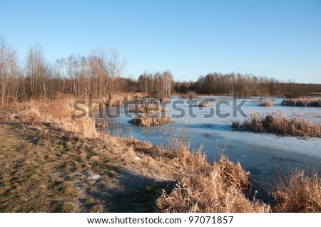 pond early spring - stock photo