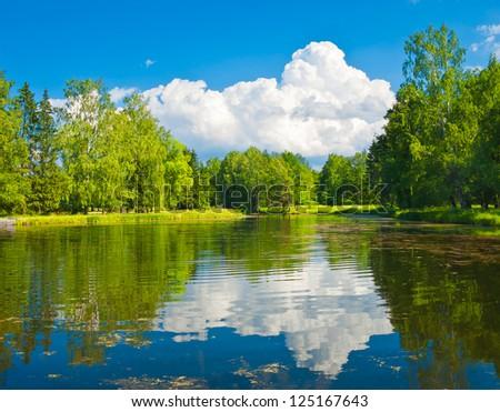 Pond in Pavlovsk park near Saint-Petersburg, Russia - stock photo