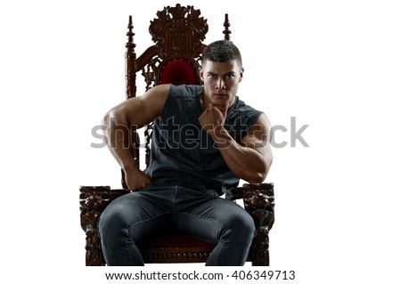 Ponderer muscular man on the throne. Isolated - stock photo