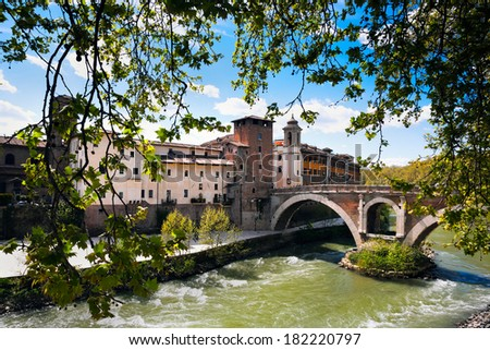Pons Fabricius - the oldest bridge of Rome, the river Tiber, Italy - stock photo