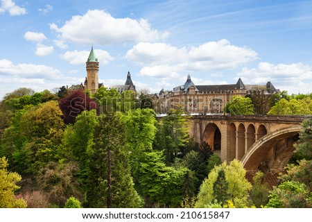 Pont Adolphe and State Saving Bank in  Luxemburg - stock photo