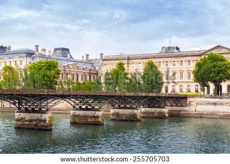 Pont des Arts, bridge over the River Seine in Paris, France - stock photo