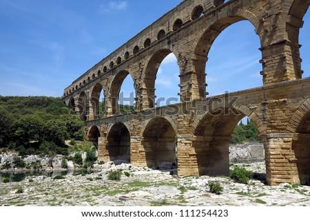 Pont du Gard, ancient Roman aqueduct, near Nimes, Provence, France - stock photo