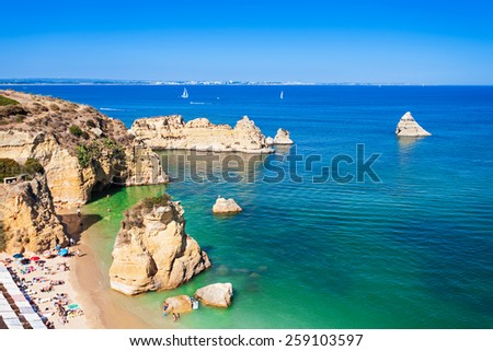 Ponta da Piedade in Lagos, Algarve region in Portugal - stock photo