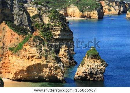 Ponta de Piedade in Lagos, Algarve coast in Portugal - stock photo