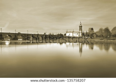 Ponte de Lima, Church, Portugal, Sepia - stock photo