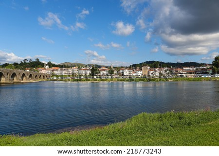 PONTE DE LIMA, PORTUGAL - AUGUST 3, 2014:  View on Ponte de Lima, a town in the Northern Minho region in Portugal.   - stock photo
