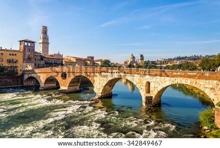 Ponte Pietra (Stone Bridge) in Verona - Italy - stock photo