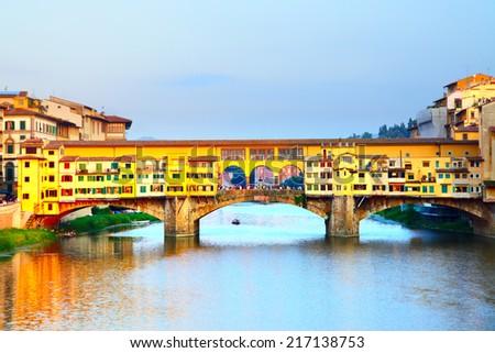 Ponte Vecchio bridge over Arno river in Florence, Italy - stock photo
