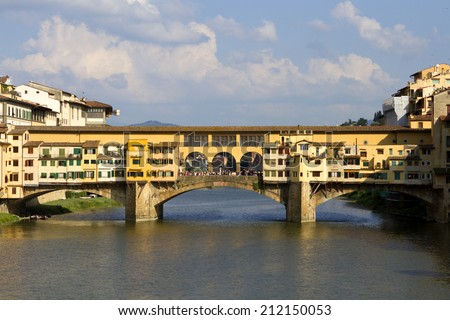 Ponte Vecchio - Florence Ponte Vecchio in Florence, Italy during summer time. - stock photo