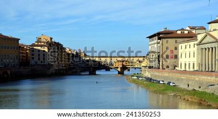 Ponte Vecchio, old bridge, medieval landmark on Arno river. Florence, Tuscany, Italy - stock photo