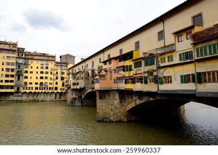 Ponte Vecchio on Arno river. Florence, Italy. - stock photo