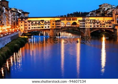 Ponte Vecchio over Arno River, Florence, Italy,Europe - stock photo