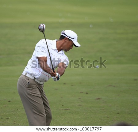 PONTE VEDRA, FL-  MAY 08 : Tiger Woods  (USA) practices at The Players championship, PGA Tour, on practice day May 08, 2012, at  The TPC Sawgrass, Ponte Vedra, Florida, USA. - stock photo