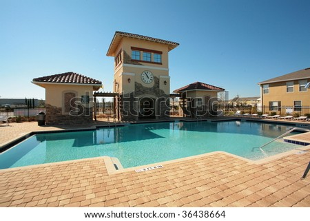 Pool and Blue Skies - stock photo