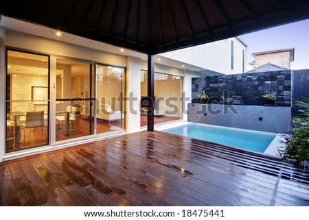 Pool area of a luxury terrace house - stock photo
