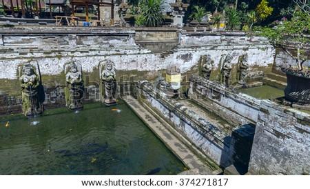 Pool at Goa Gajah ancient temple in Bali, Indonesia - stock photo