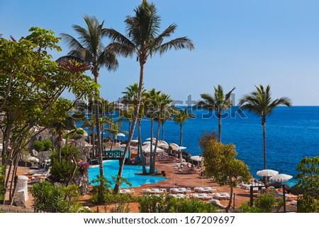 Pool at Tenerife island - Canary Spain - stock photo