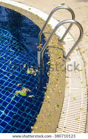 Pool dirty from leaf - stock photo