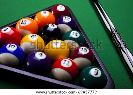Pool game balls against a green - stock photo